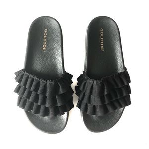 Goldtoe Slides Ruffle Black Slipper Sandal Shoe 41
